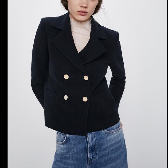 Zara velvet blazer w/gold buttons double breasted
